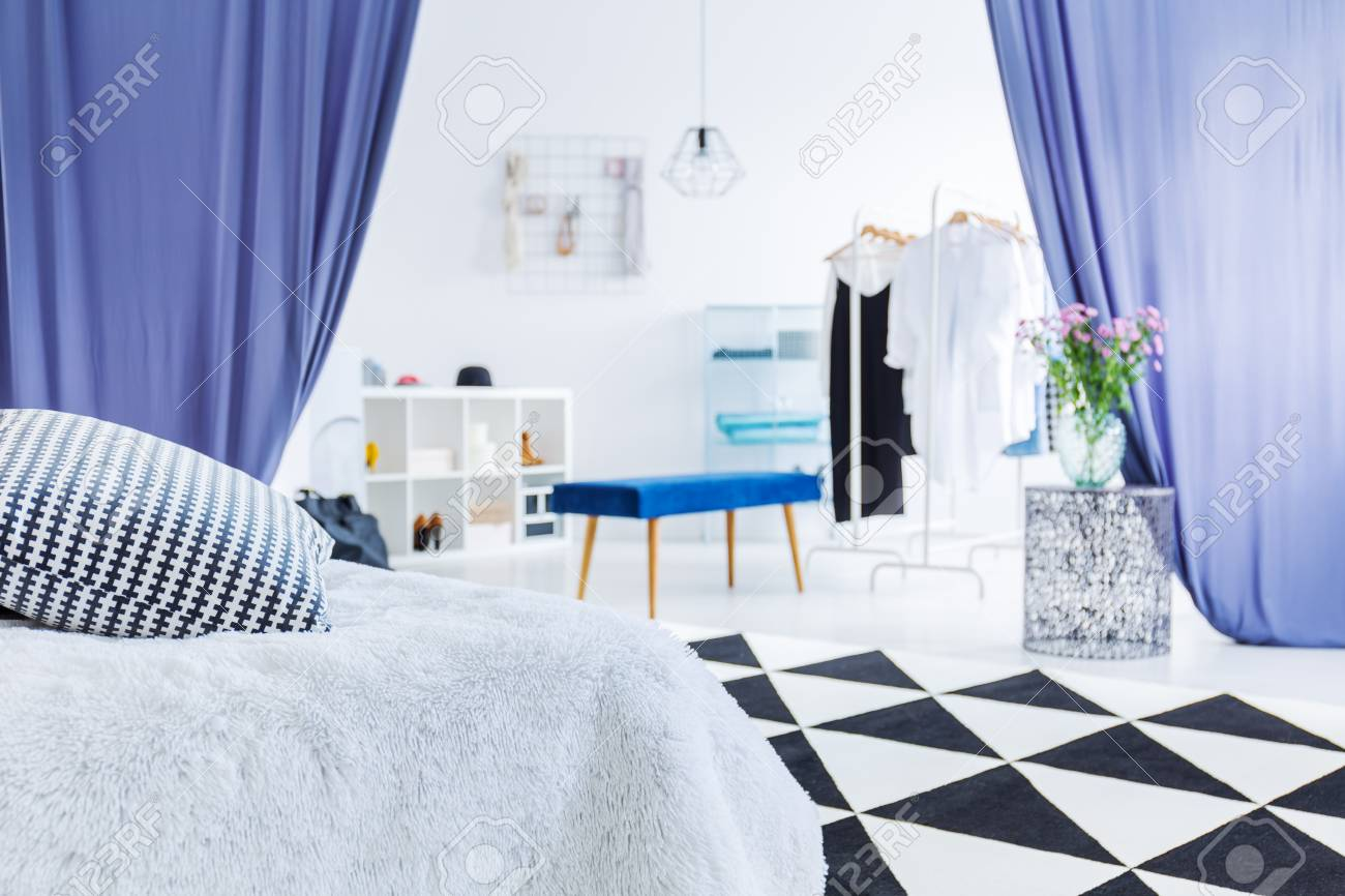 Glamor Womanu0027s Bedroom With Flowers On Table In Entrance To Closet With  Blue Stool And Curtains
