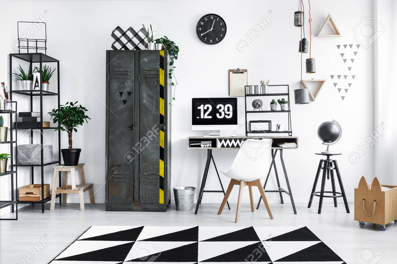 buy online dac75 5b7d8 Black and white workspace interior with industrial wardrobe and..