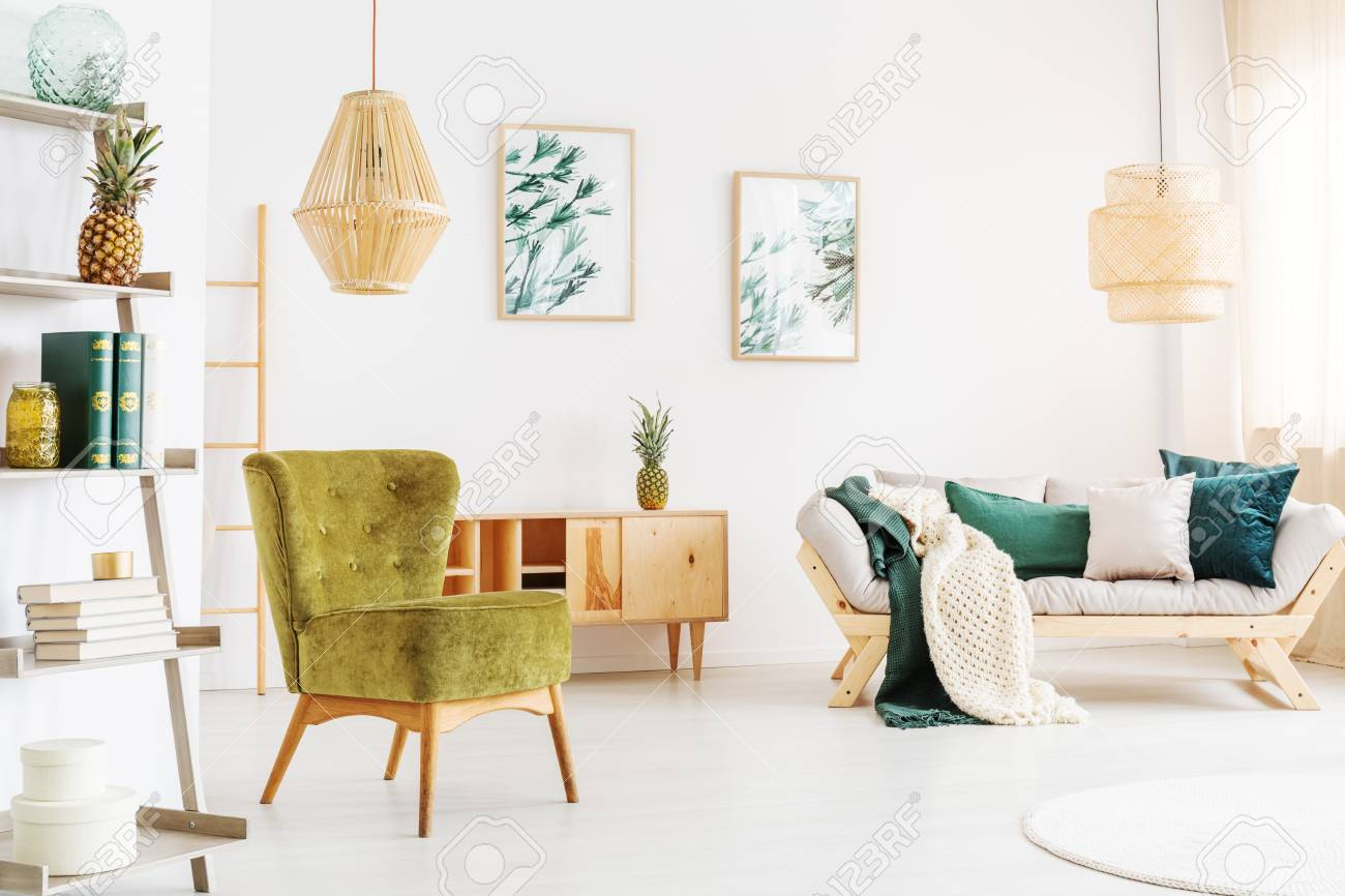Two Rattan Lamps In Bright Living Room With Moss Green Chair.. Stock ...