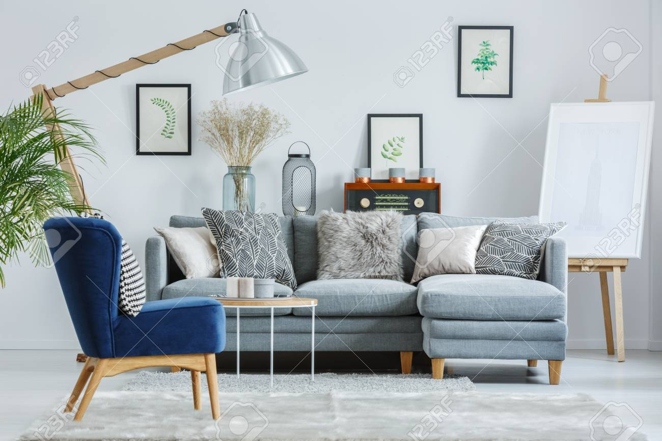 Trendy Interior Design With Gray Elegant Sofa Navy Blue Armchair Stock Photo Picture And Royalty Free Image Image 88394246