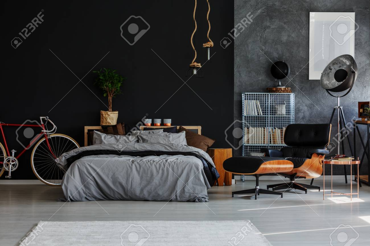 Sensational Bicycle In Open Space Interior With Grey Bedsheet On Bed Plant Pabps2019 Chair Design Images Pabps2019Com