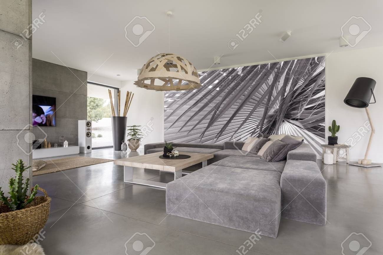Comfy Grey Corner Sofa With Pillows In The Living Room With Big ...