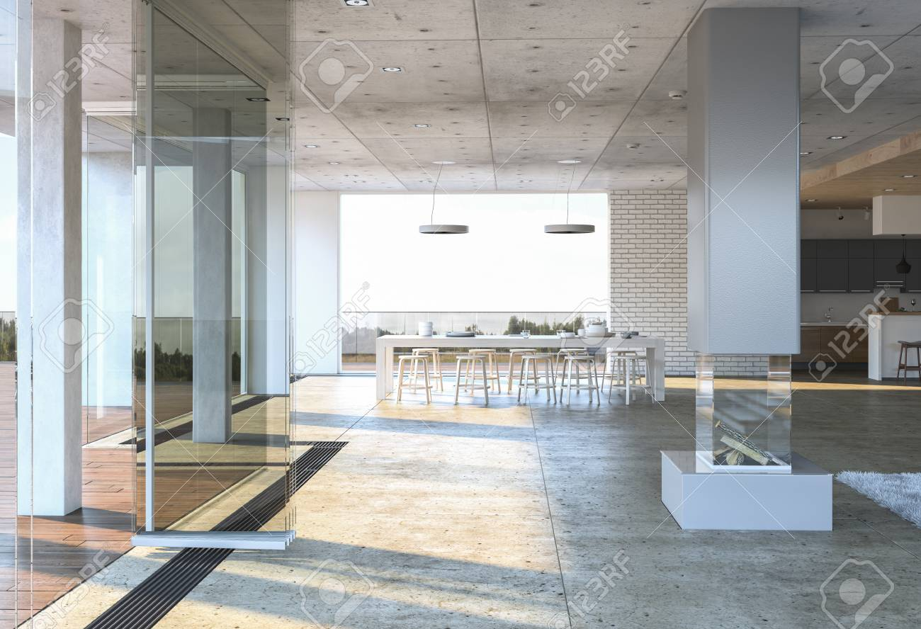Glass Entrance To A Modern Concrete House With White Dining Table