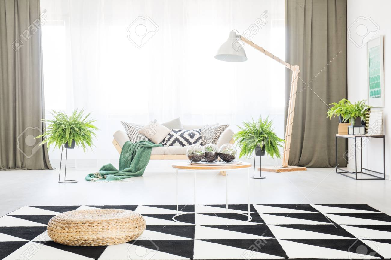 Pouf And Table On Geometric Carpet In Spacious Living Room With