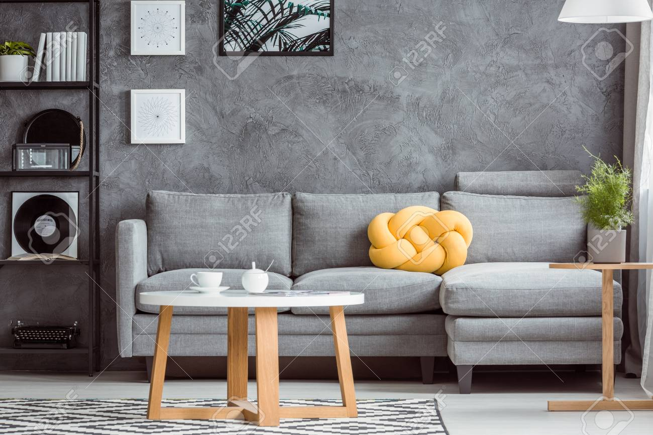 Close Up Photo Contemporary Design Of Cozy Gray Living Room Stock Photo Picture And Royalty Free Image Image 97991085