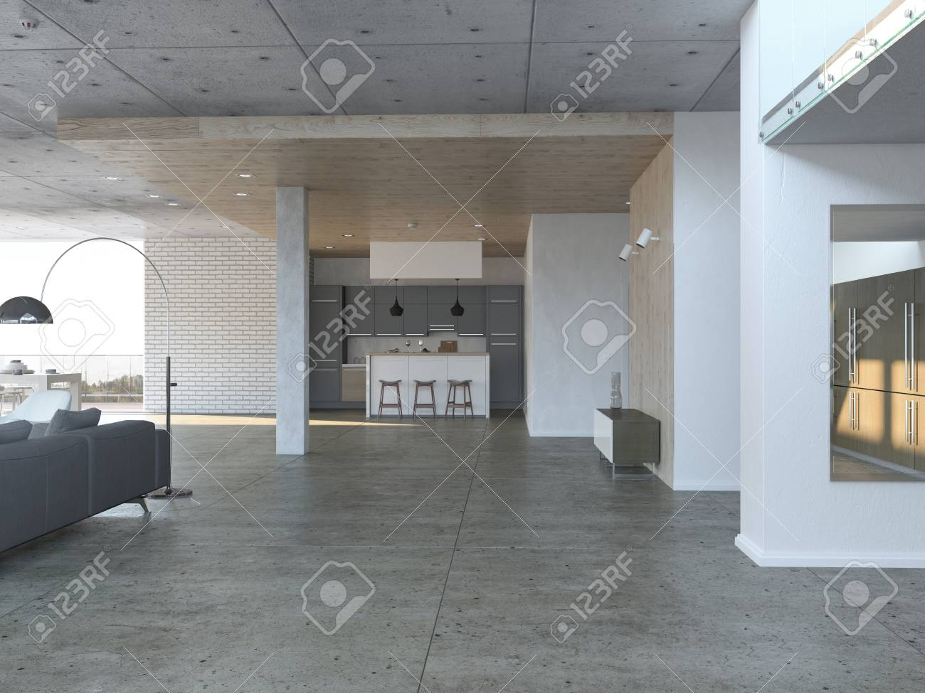 Modern Open Living Room With Dining Room And Kitchen On The Ground