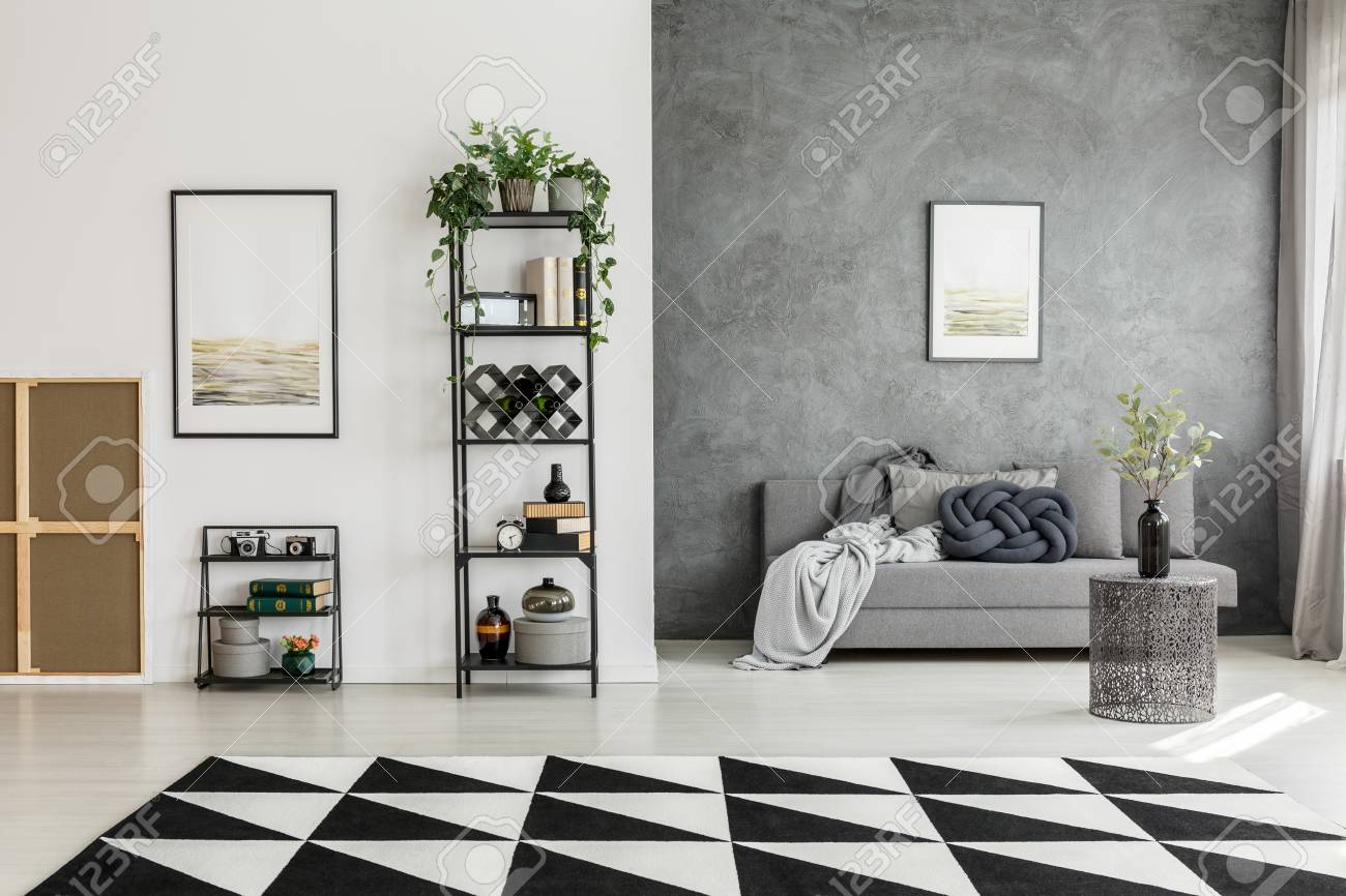 Black And White Carpet In Spacious Living Room With Posters