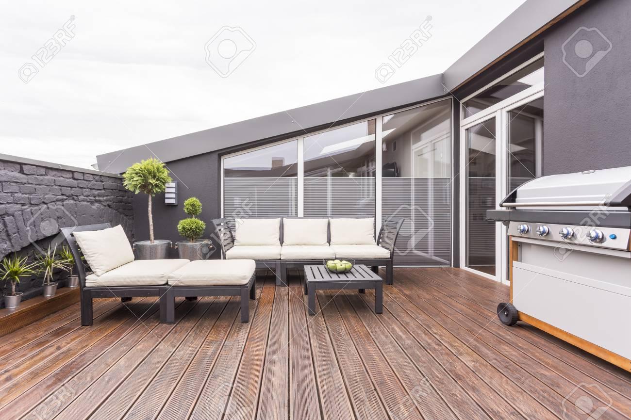 Brillantes Muebles De Jardín, Parrilla Y Plantas En La Acogedora ...