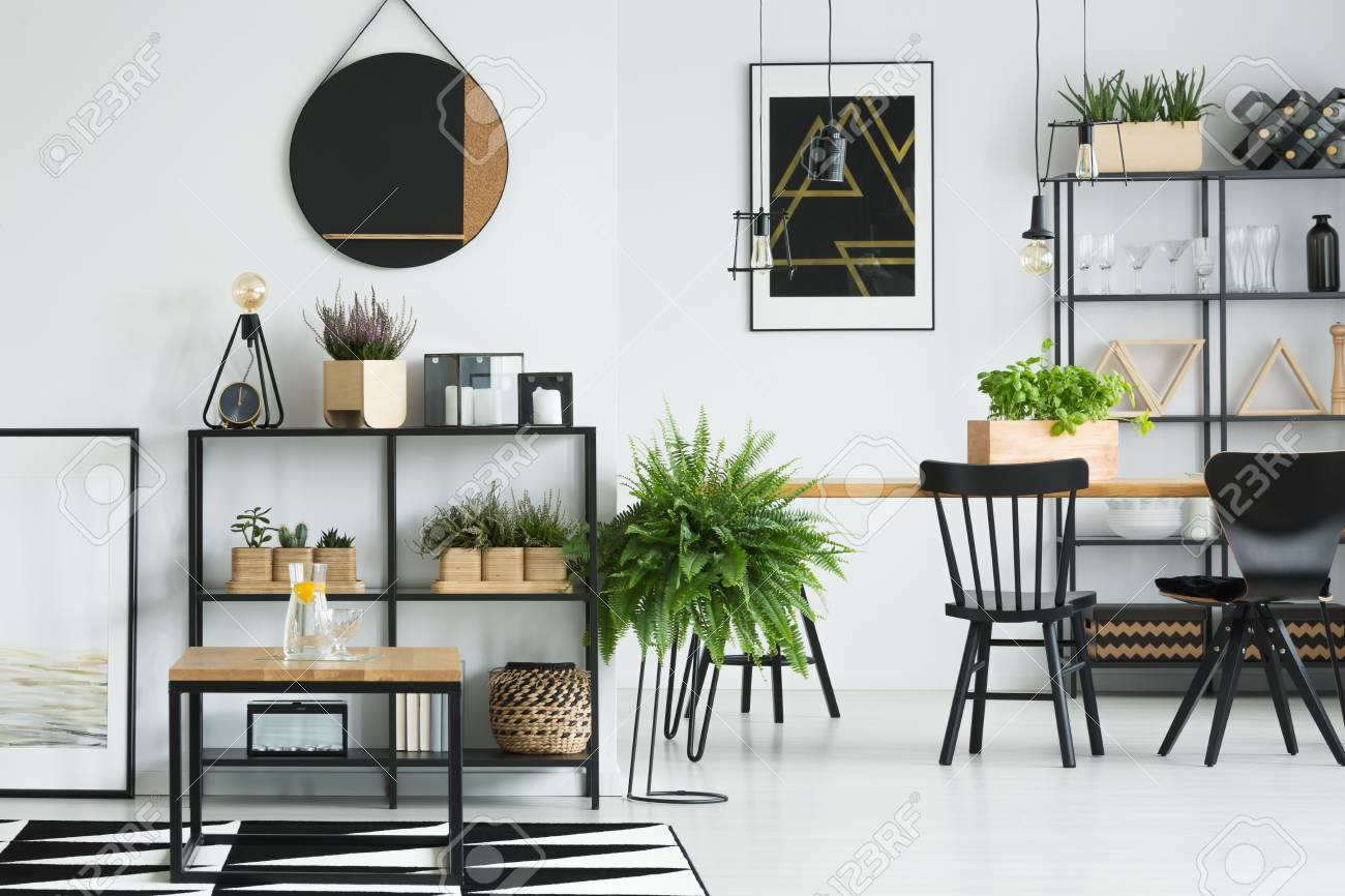 Open Space White Dining Room With Wooden Tables Geometric Carpet Stock Photo Picture And Royalty Free Image Image 97989933
