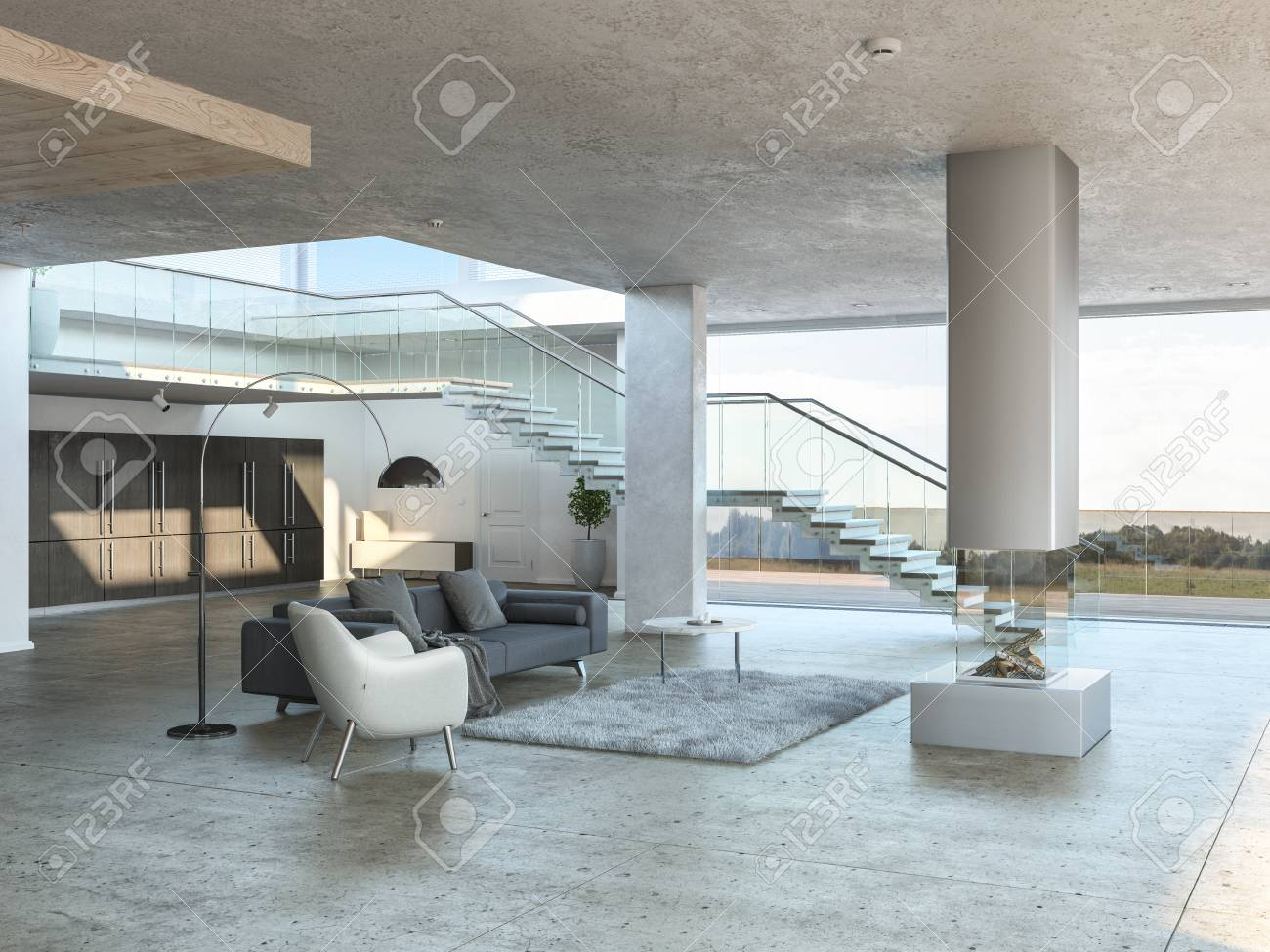 Monochromatic Living Room Interior With Gray Rug White Armchair And Stairs Leading Up To The