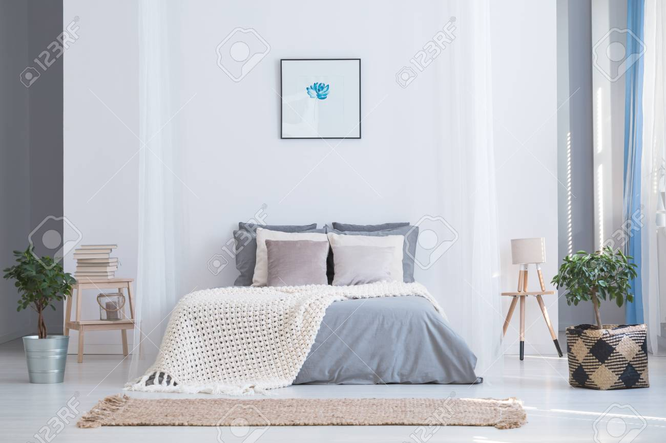 Soothing Gray And Blue Color Palette For Balanced Bedroom In.. Stock ...