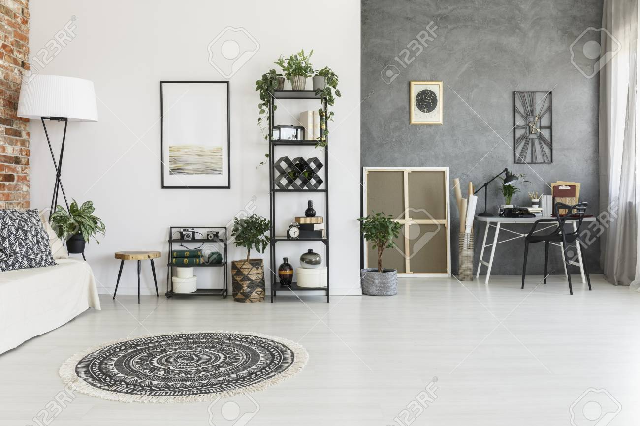 Round Patterned Carpet In Spacious Living Room With Plants, Poster ...