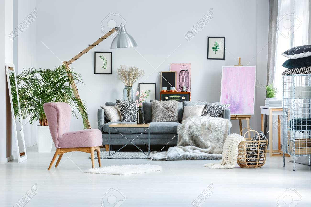 Cozy Living Room With Pink Accents Fur Blanket And Decorative Stock Photo Picture And Royalty Free Image Image 90323969