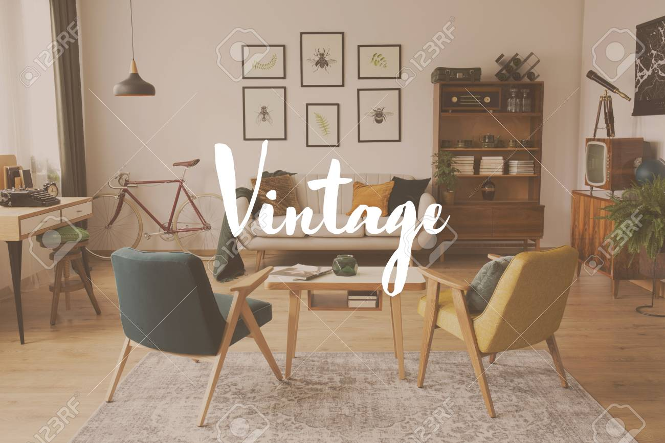Filter Of Vintage Living Room With Armchairs At Wooden Table Stock Photo Picture And Royalty Free Image Image 90492247