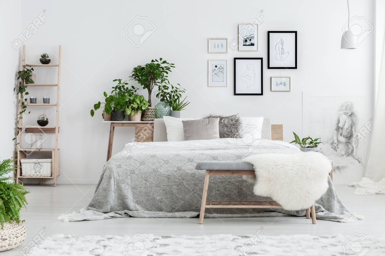 Handmade Drawings In Frames Hanging On The Wall In White Bedroom Stock Photo Picture And Royalty Free Image Image 90575013