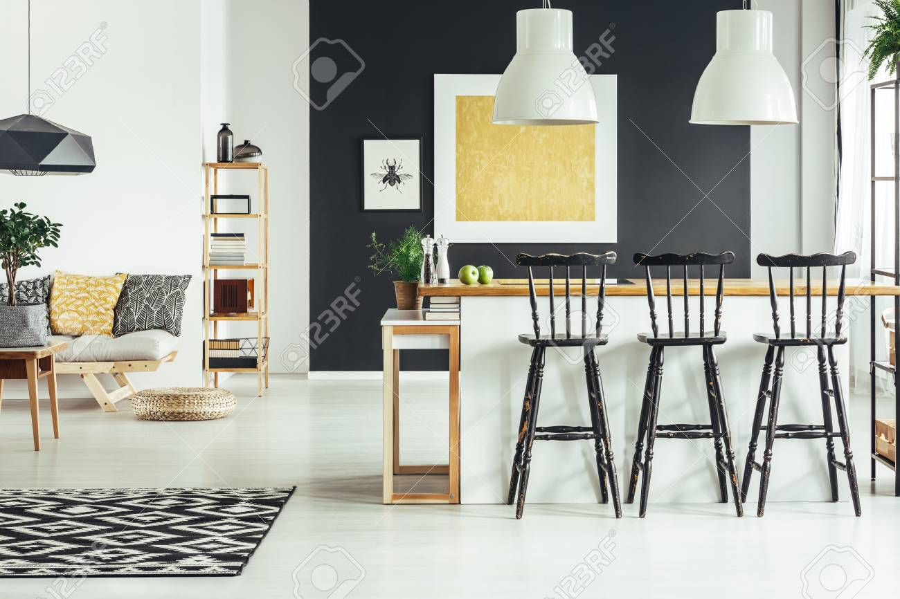 Cool Geometric Carpet In Contemporary Living Room With Black Rustic Machost Co Dining Chair Design Ideas Machostcouk