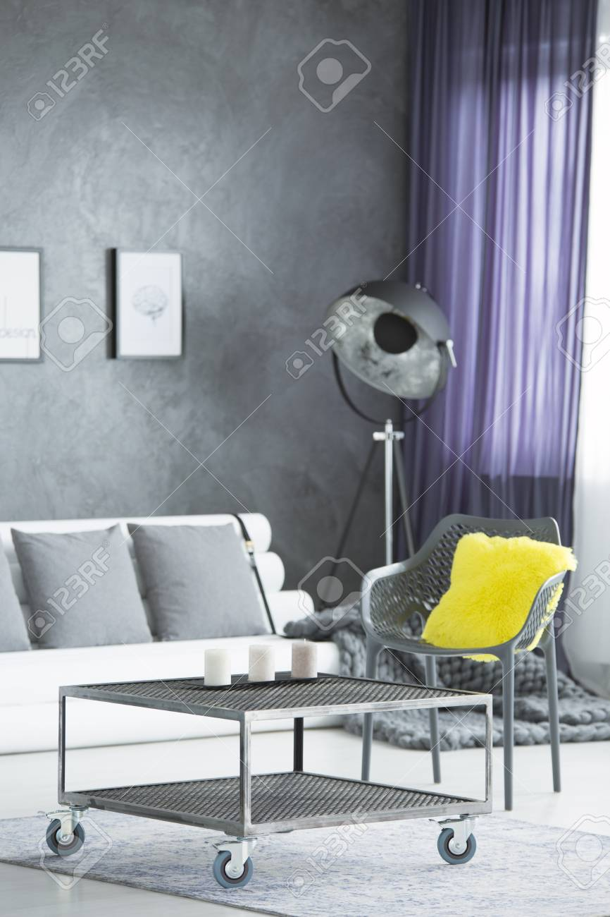 Fine Yellow Fluffy Cushion Placed On Plastic Chair Standing By The Interior Design Ideas Tzicisoteloinfo