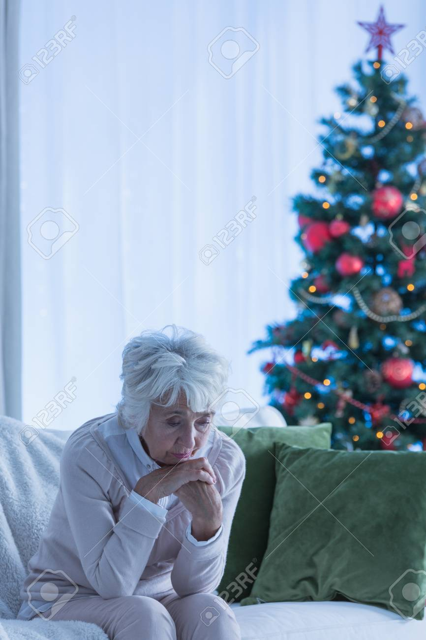 Lonely On Christmas.Lonely Christmas Time Of A Female Senior Citizen