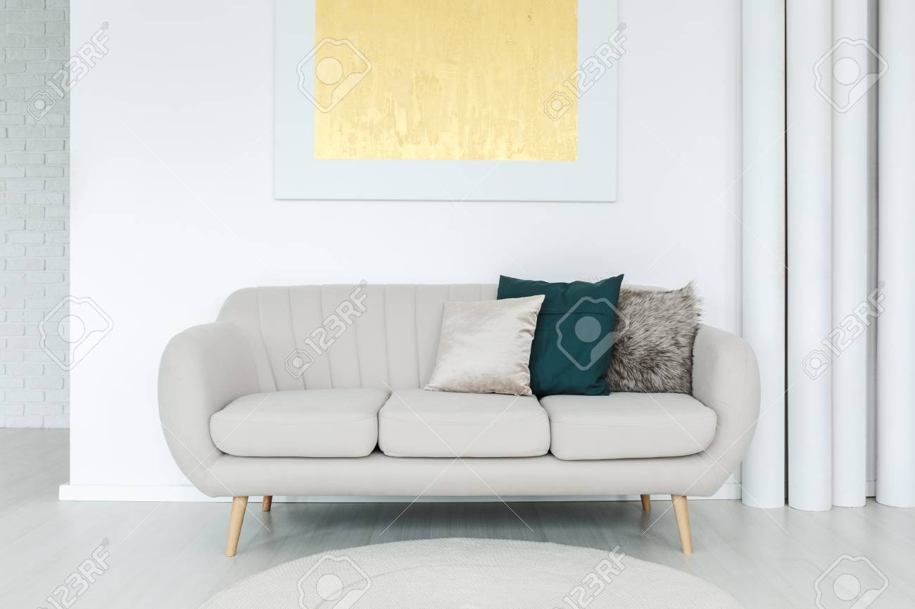 Bright Soft Couch With Decorative Pillows Standing In Living Stock Photo Picture And Royalty Free Image Image 91590311