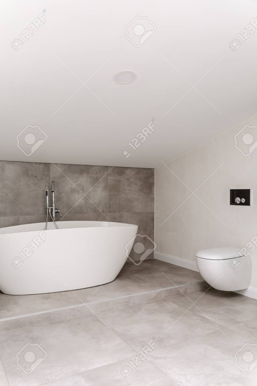 Geraumiges Badezimmer Mit Toilette Gegen Weisse Wand Und Ovale