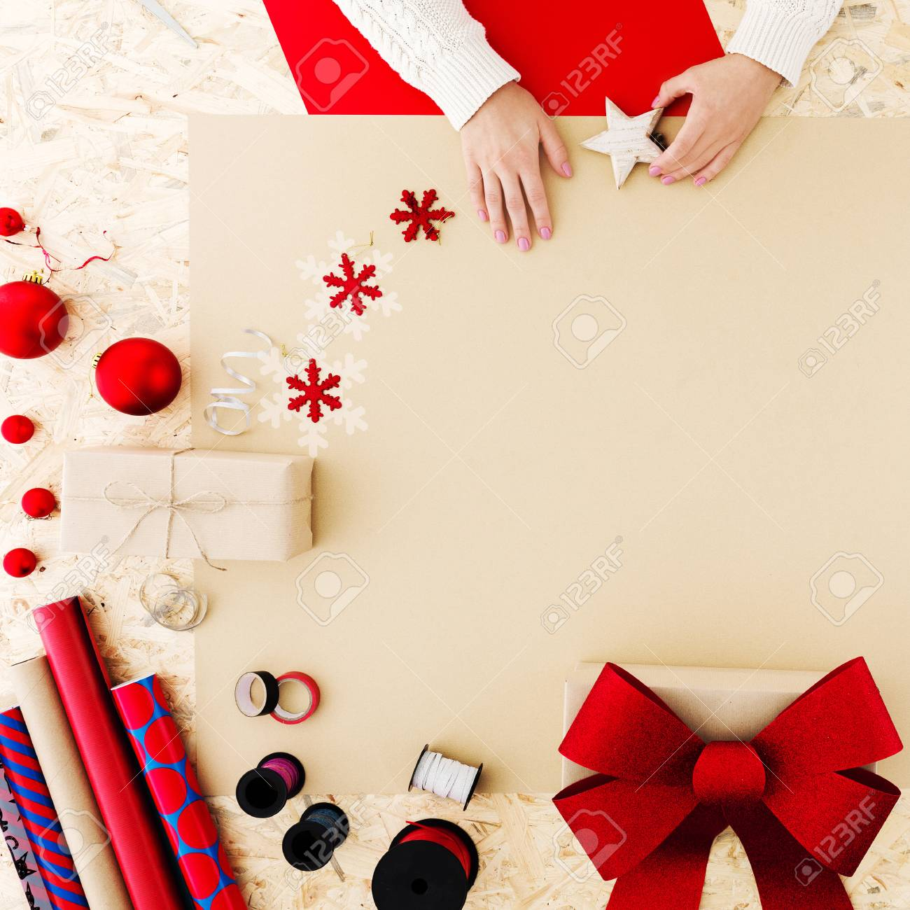 Colorful Christmas Accessories To Wrap Christmas Presents Stock ...