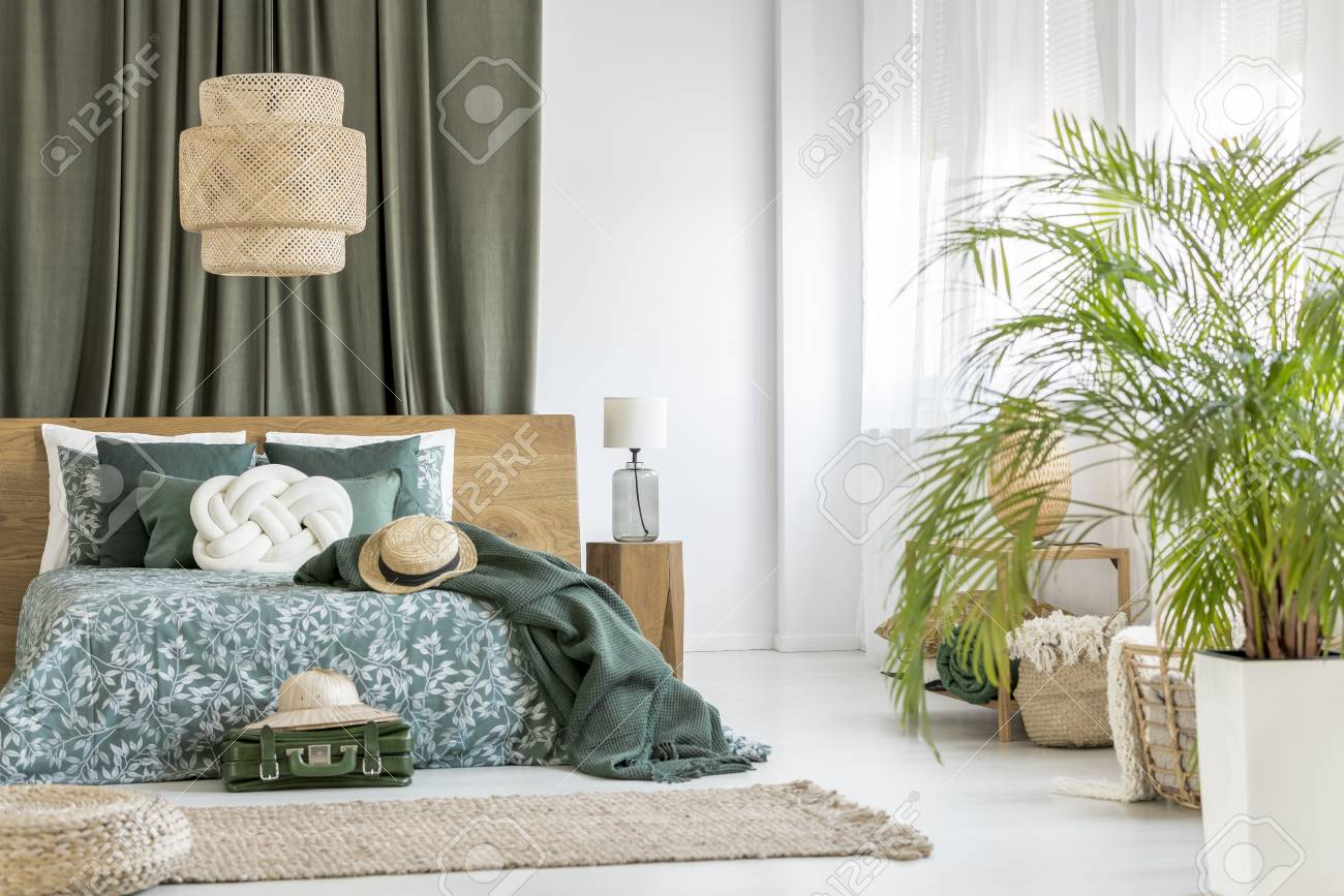 Super Plant In Olive Bedroom With Rattan Lamp Above Green Bedding On Download Free Architecture Designs Scobabritishbridgeorg