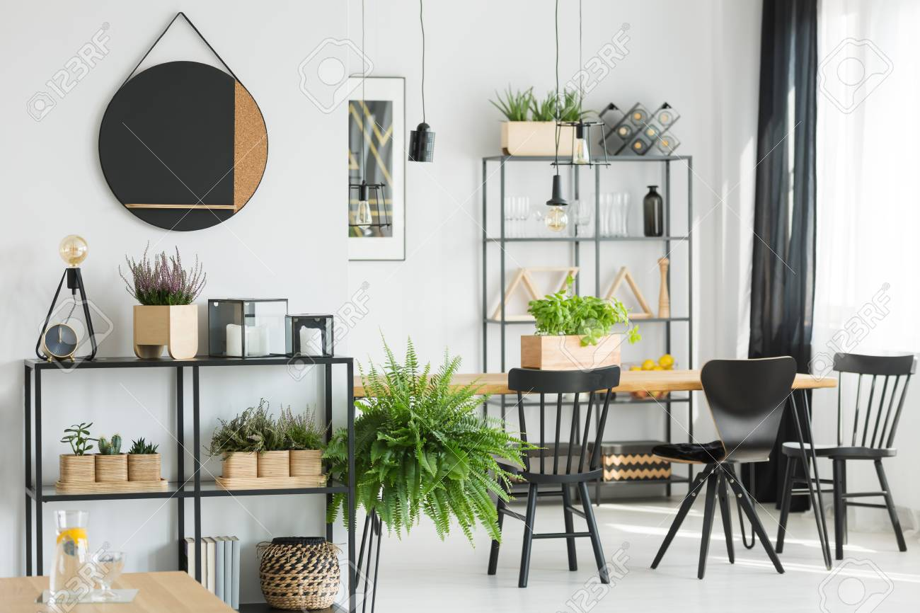 Fern near shelf in simple dining room with black chairs at table,..