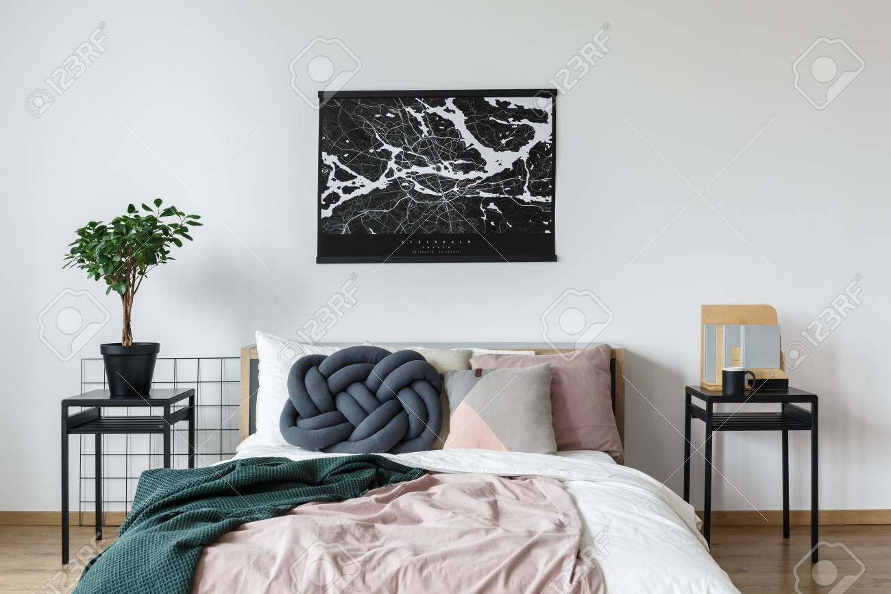 Minimalist Black And White Poster Above King Size Bed With Pastel Stock Photo Picture And Royalty Free Image Image 93199779