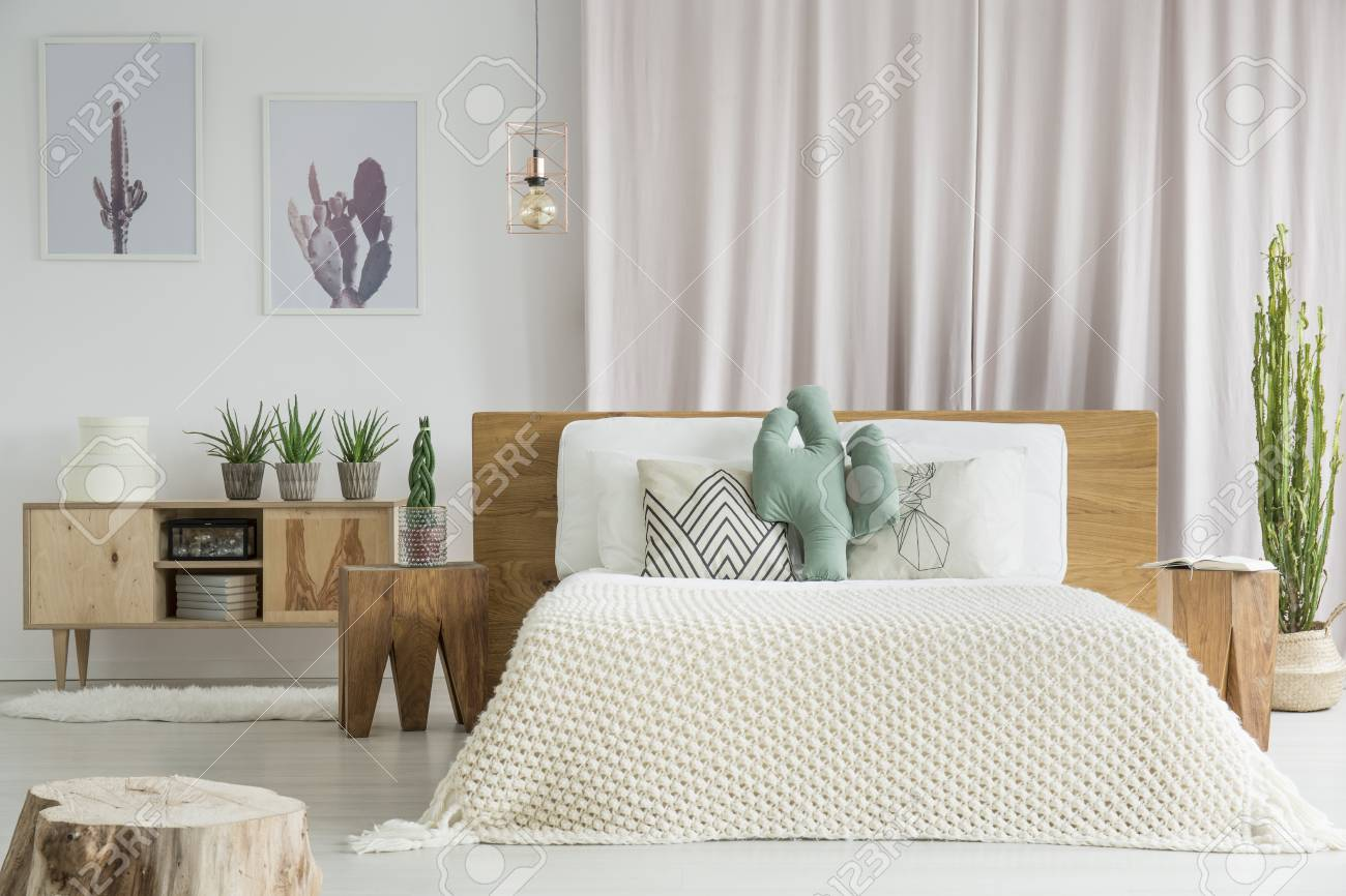 Bedroom Furniture Made From Natural Materials Like Raw Wood Stock Photo Picture And Royalty Free Image Image 93199780