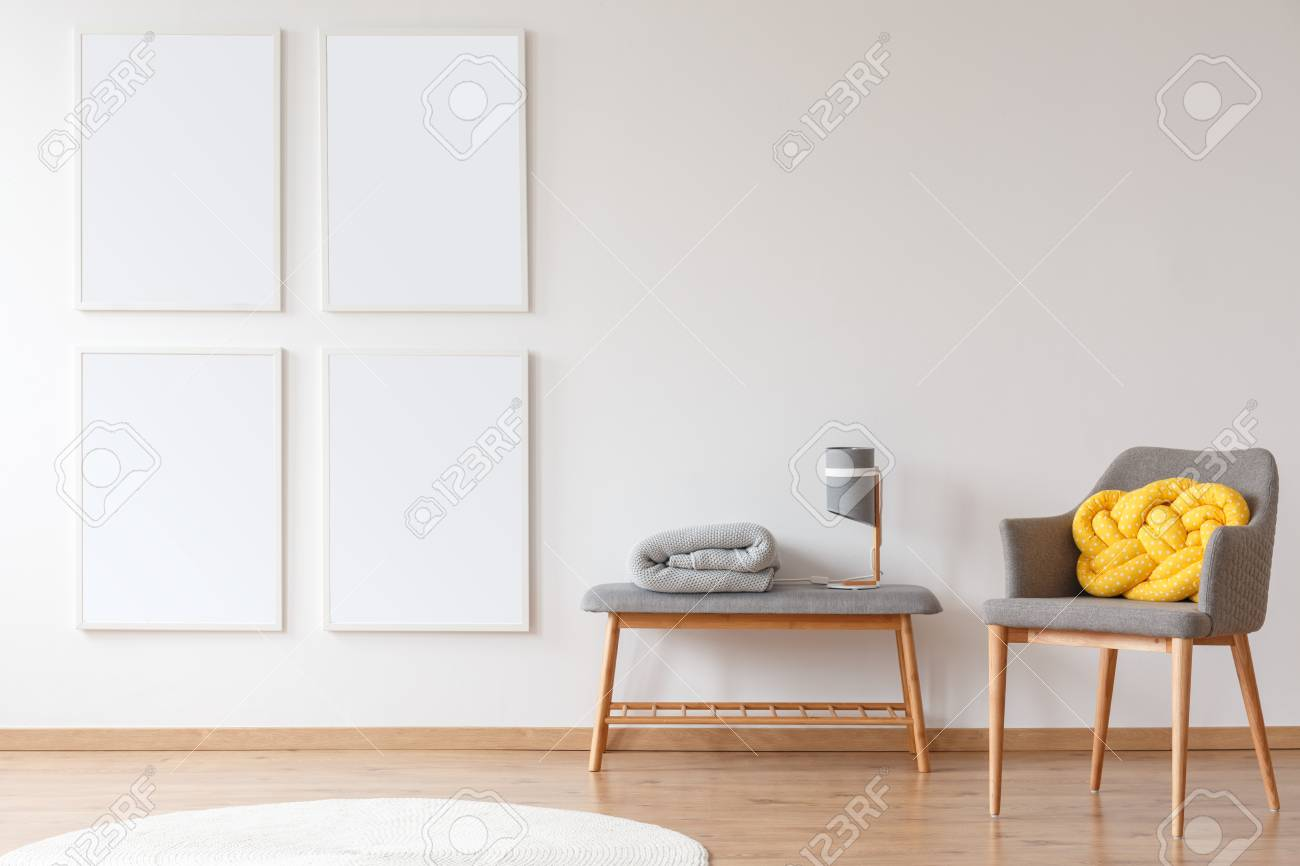 Gray Furniture Against White Wall With Mockup Posters In Bright ...