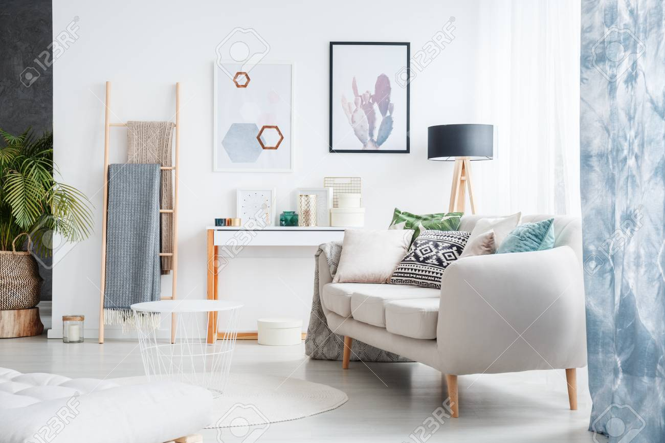 White Living Room Design With Blue Accents Such As Patterned Stock Photo Picture And Royalty Free Image Image 93516113