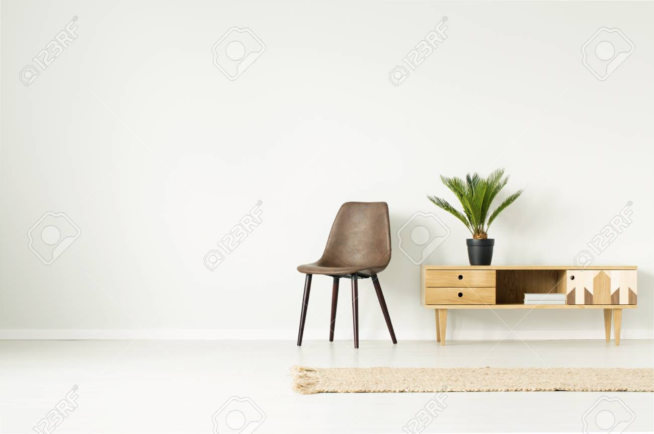 Plant In Black Pot On Wooden Cupboard Next To Brown Chair Against ...