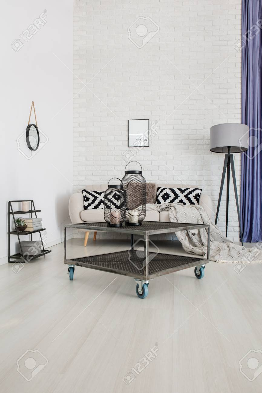 Metal Industrial Coffee Table On Wheels Standing In The Middle Stock Photo Picture And Royalty Free Image Image 93723170