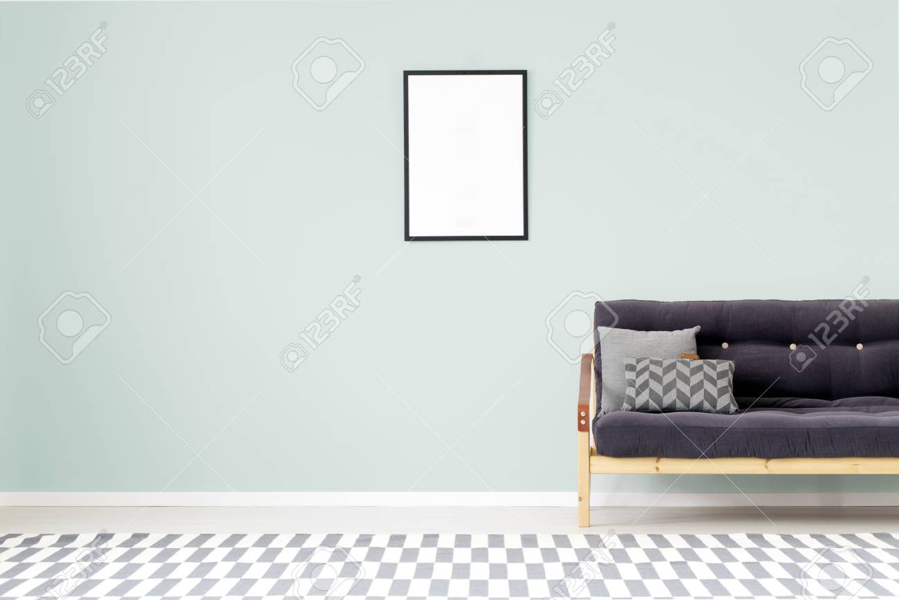 Mockup Of Empty Poster On Mint Wall In Living Room Interior With ...