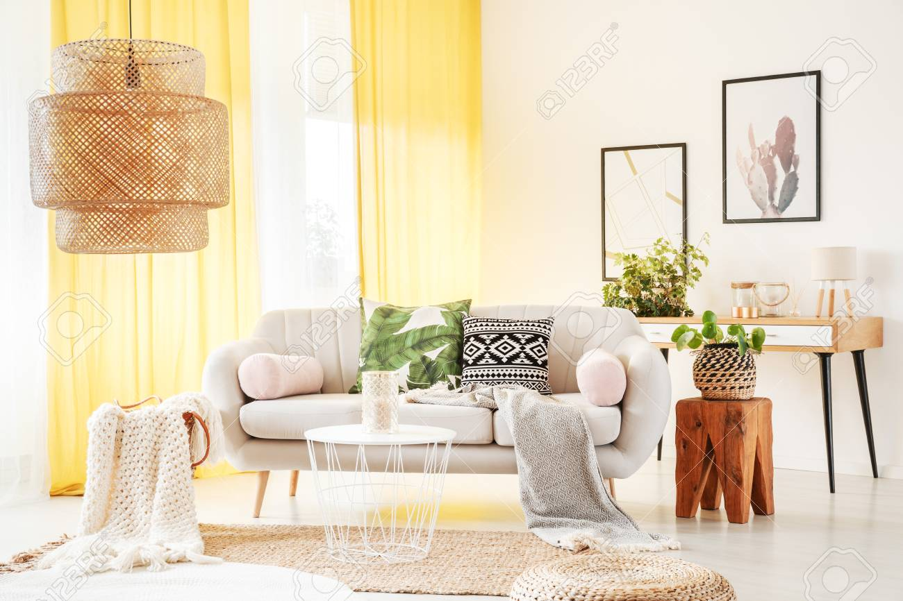 Bright Yellow Curtains Hanging In A Stylish Boho Room Interior