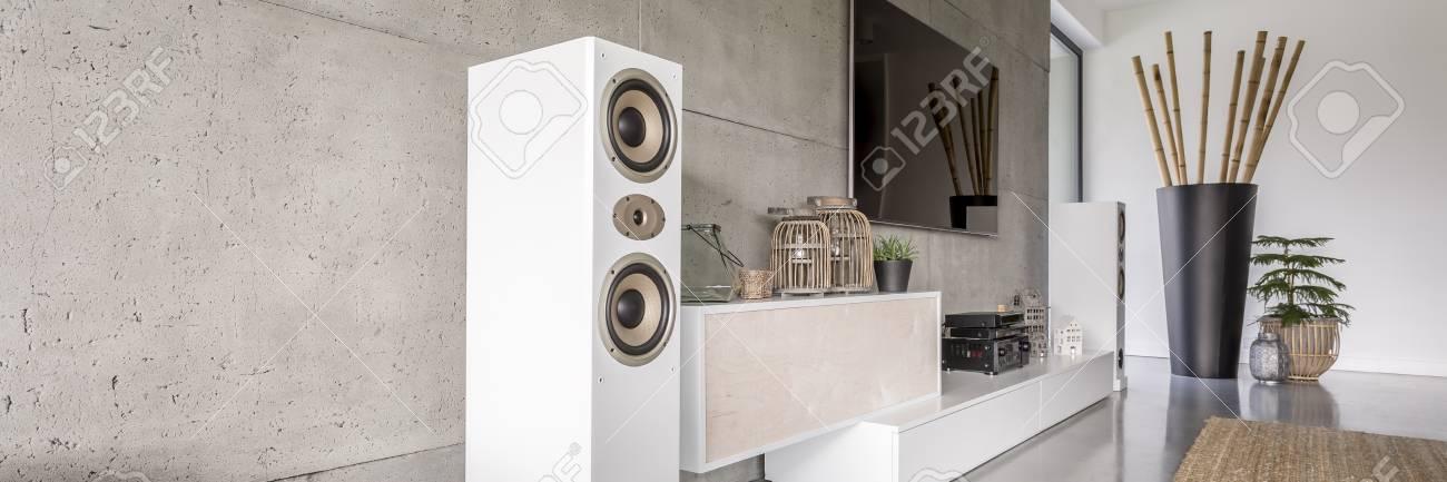 White Loudspeaker In Modern Living Room With Huge Black Vase Stock