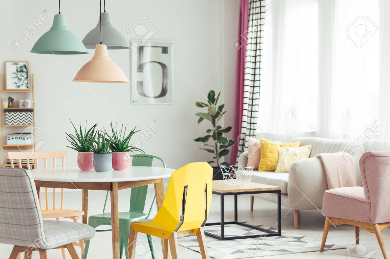 Aloe In Pink Pots On Wooden Table In Pastel Apartment Interior ...