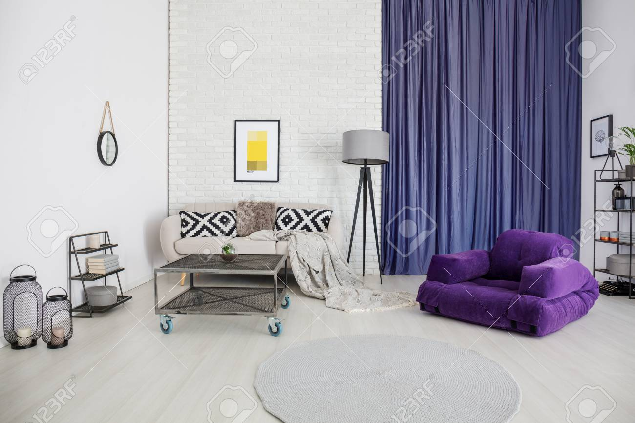 Spacious, White Living Room Interior With Purple Accents Such ...