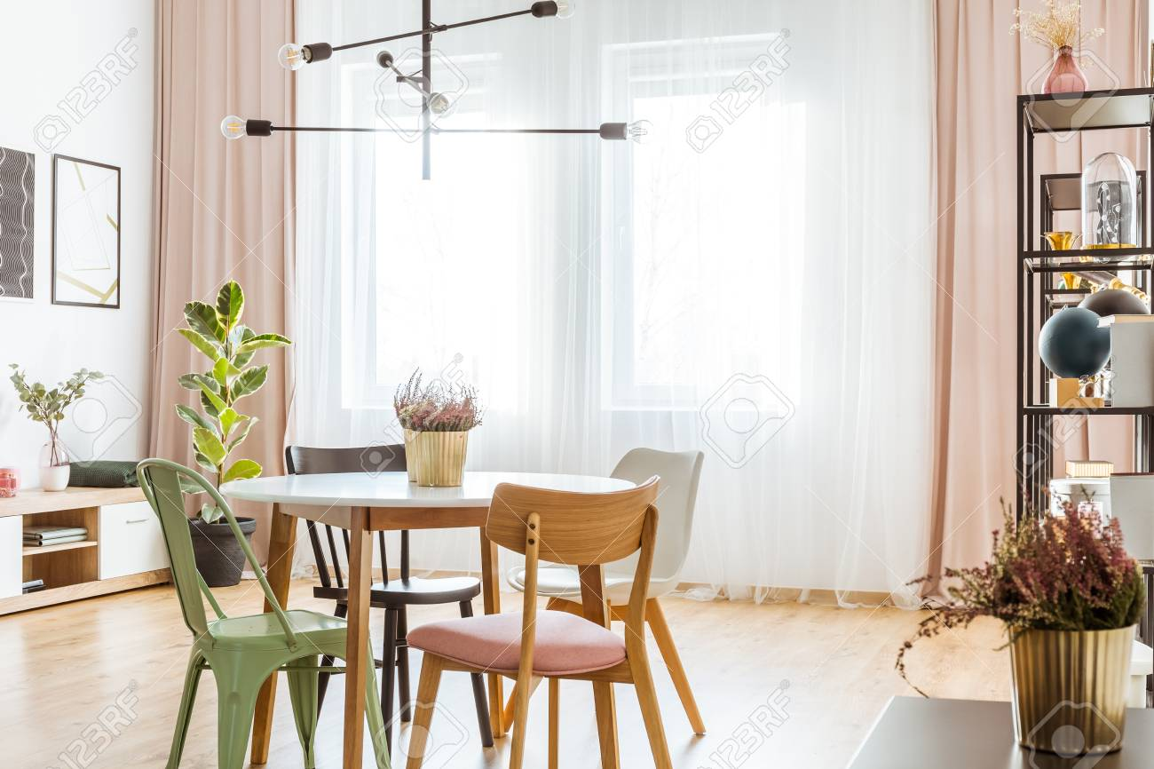 Heather In Gold Pot On Wooden Table With Chairs In Dining Room Interior  With Pink Curtains