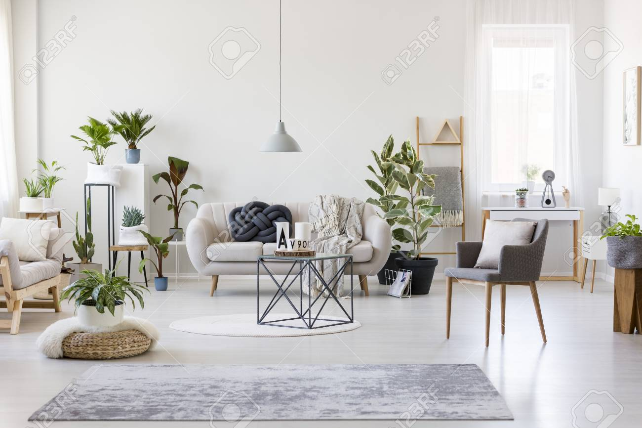 Gray Rug Pouf And Armchair In Spacious Floral Living Room