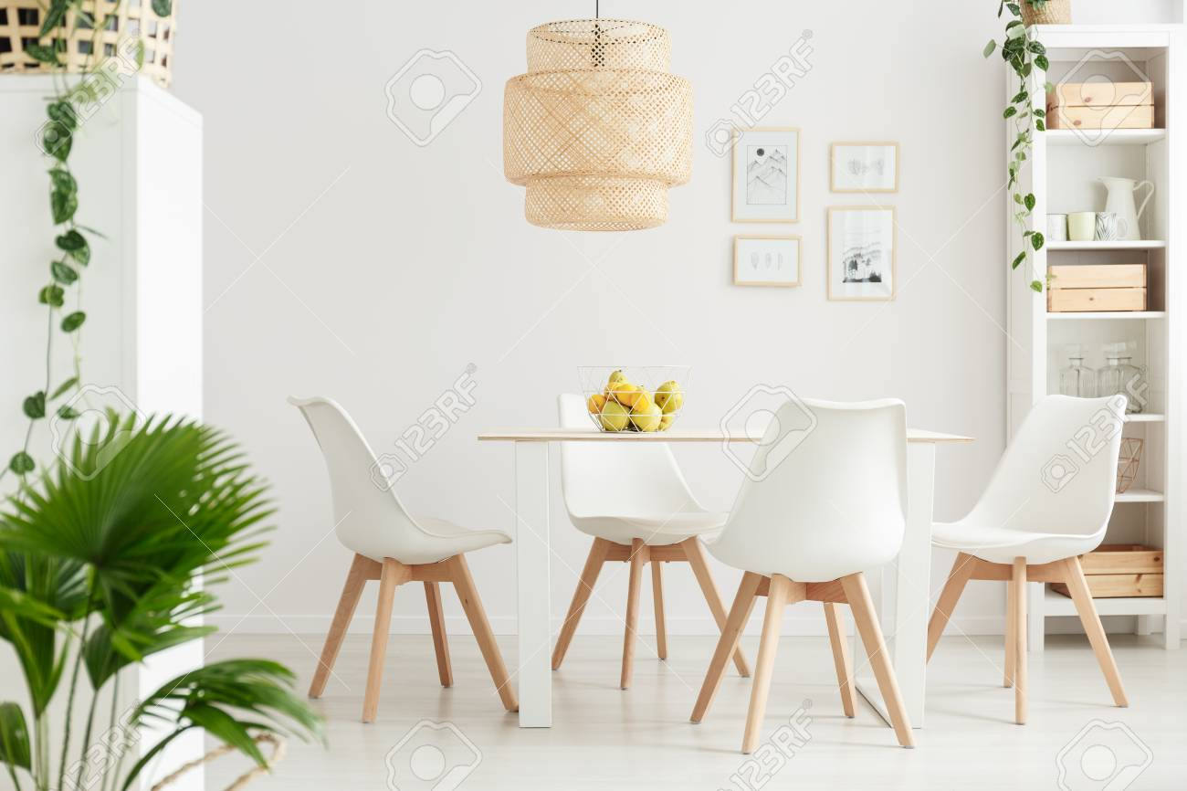 Simple dining room interior with palm and ivy plants, white chairs..