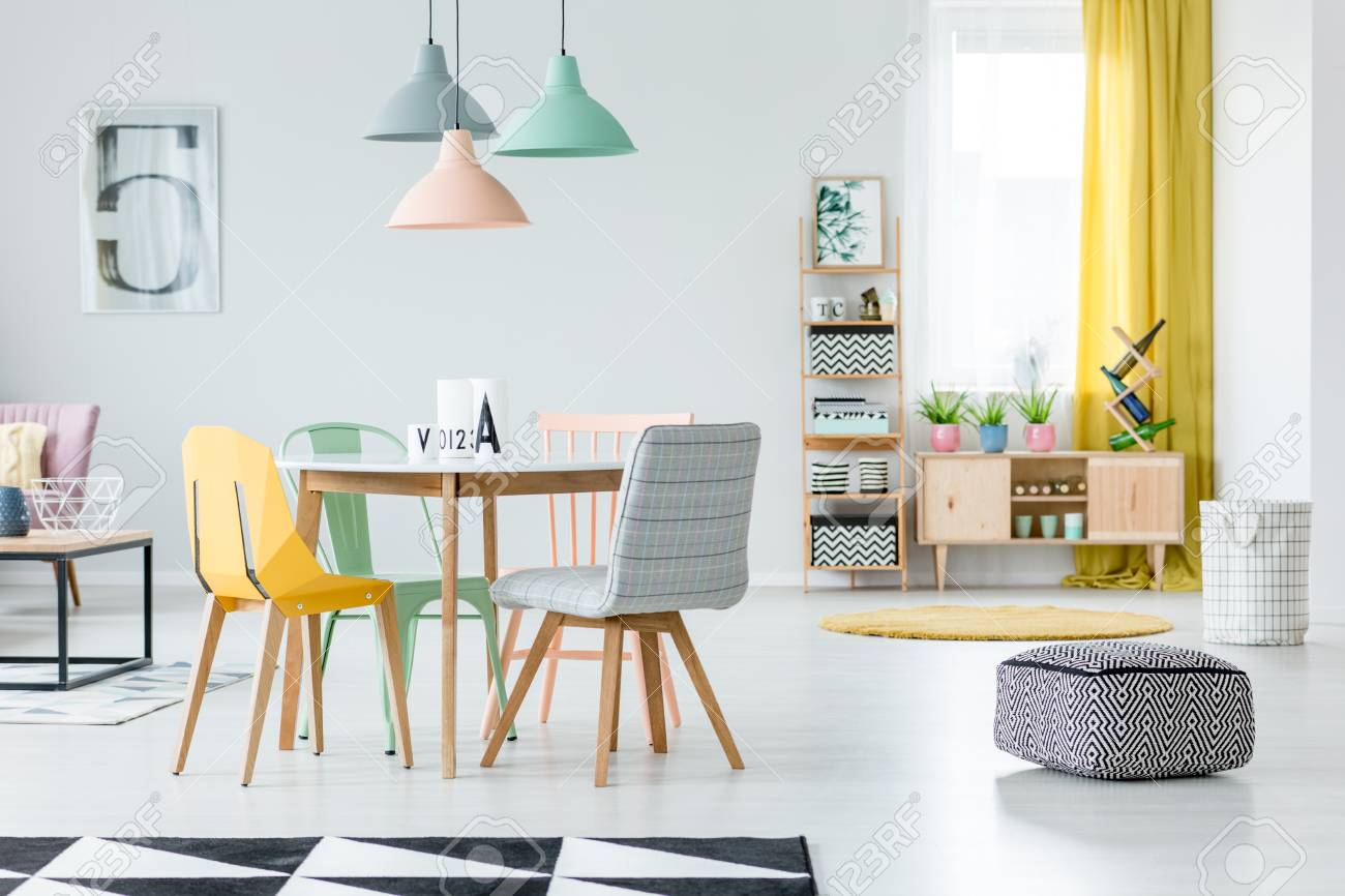 Patterned Black And White Pouf In Pastel Dining Room Interior Stock Photo Picture And Royalty Free Image Image 97032047