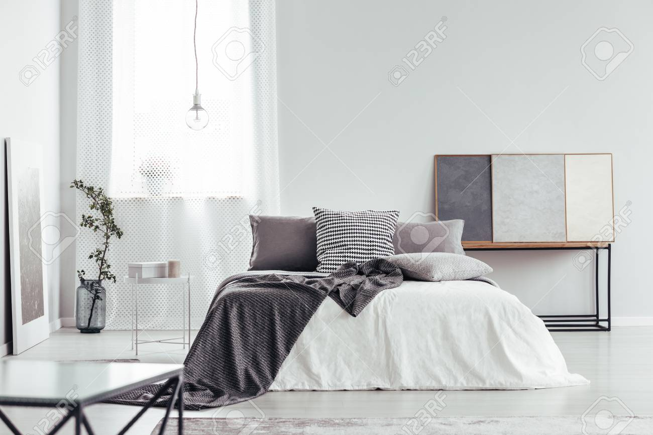 Decorative Pillow With Houndstooth Pattern Placed On The Bed Stock Photo Picture And Royalty Free Image Image 95519597