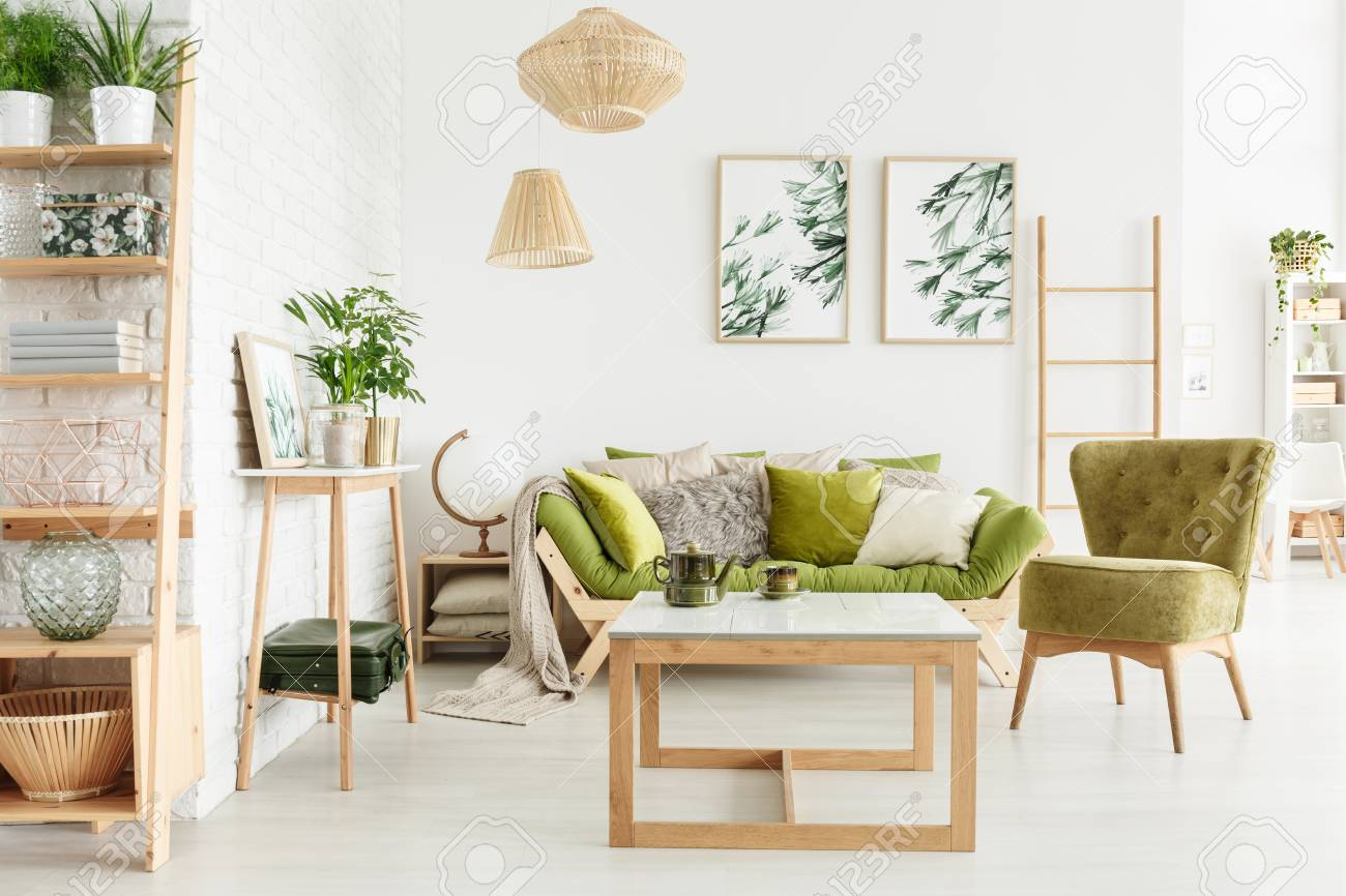 Cozy Living Room Interior With Green, Suede Armchair, Wooden.. Stock ...