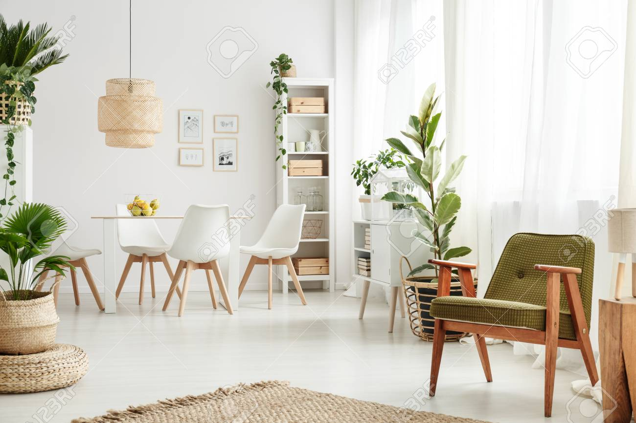 Botanic dining room interior with retro armchair rattan l& above table white chairs and & Botanic Dining Room Interior With Retro Armchair Rattan Lamp ...
