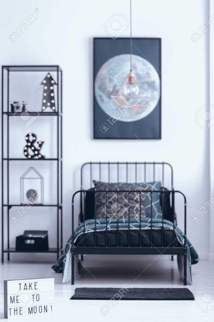 Magnificent Moon Poster On White Wall Above Kids Bed Next To Shelves With Andrewgaddart Wooden Chair Designs For Living Room Andrewgaddartcom