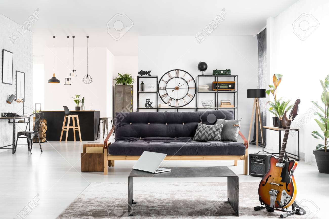 Stupendous Manly Apartment Interior With Black Couch Laptop On An Industrial Beatyapartments Chair Design Images Beatyapartmentscom