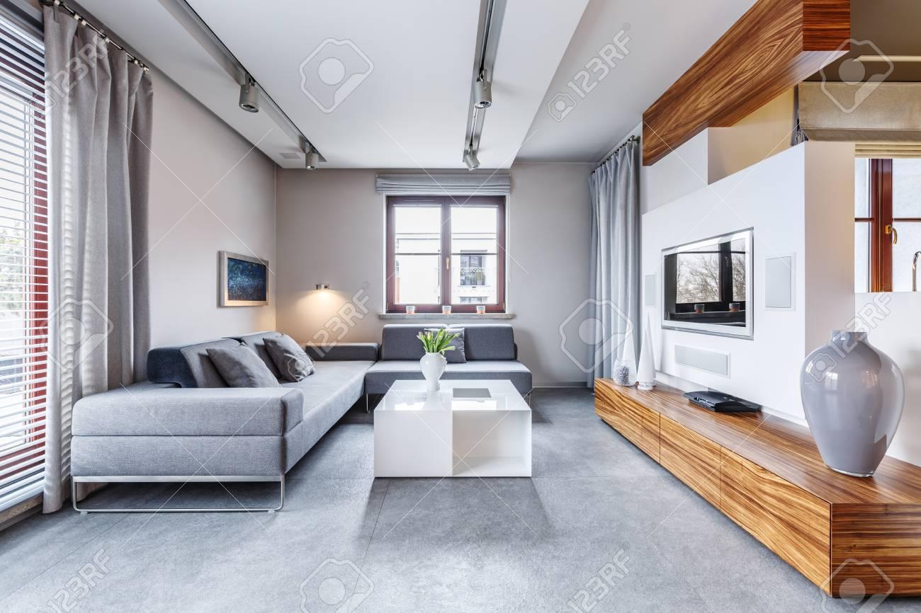 Vase On Long Wooden Cupboard In Modern Grey Living Room Interior