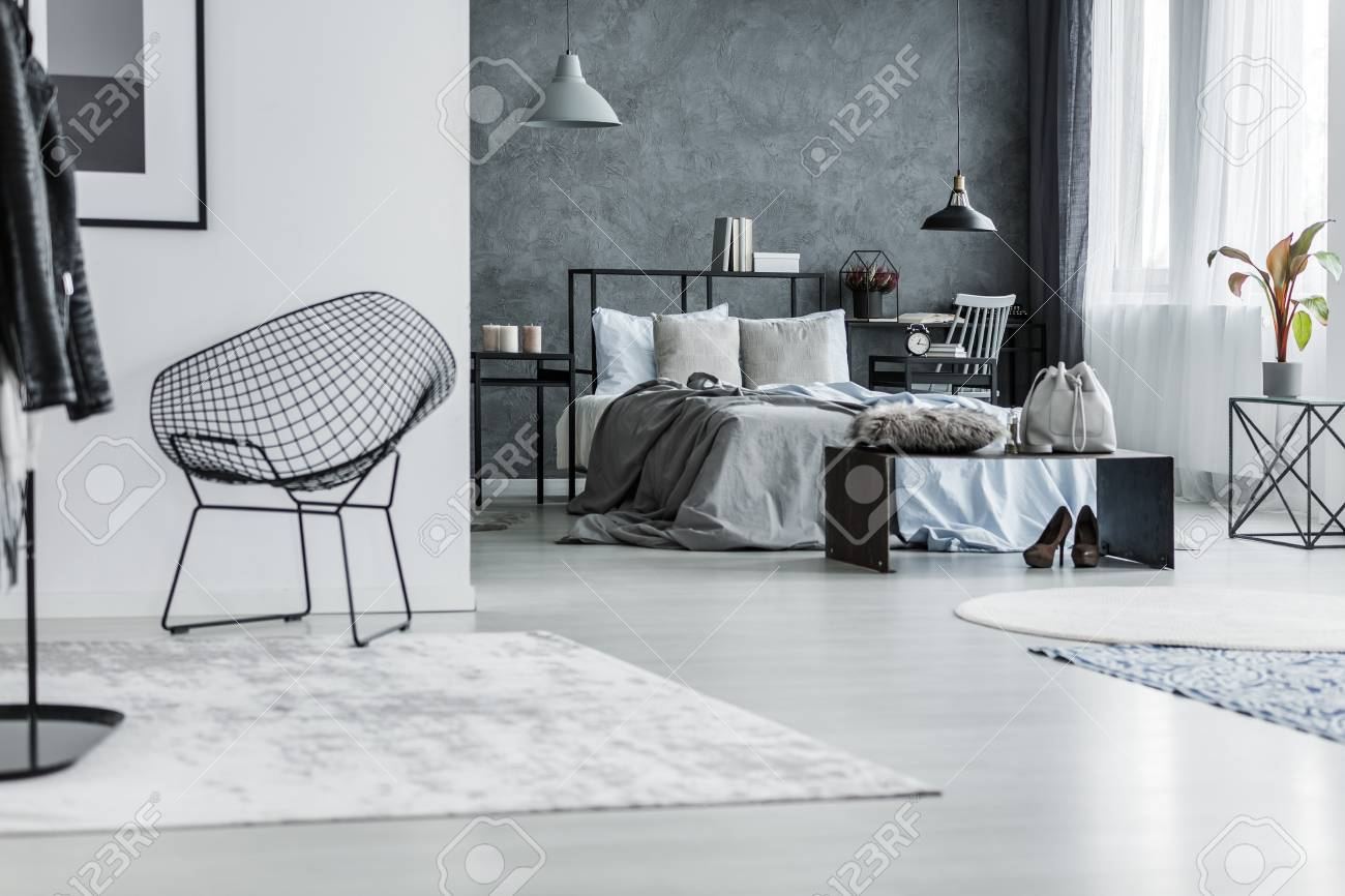 Open Flat Interior With Black Metal Chair In The Hall And Gray Stock Photo Picture And Royalty Free Image Image 96666173
