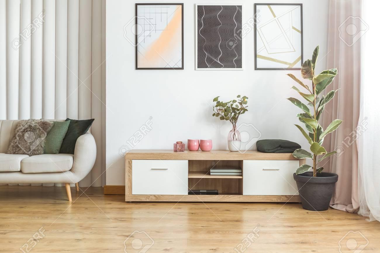 Elegant Living Room Interior With Wooden Cupboard Standing Between